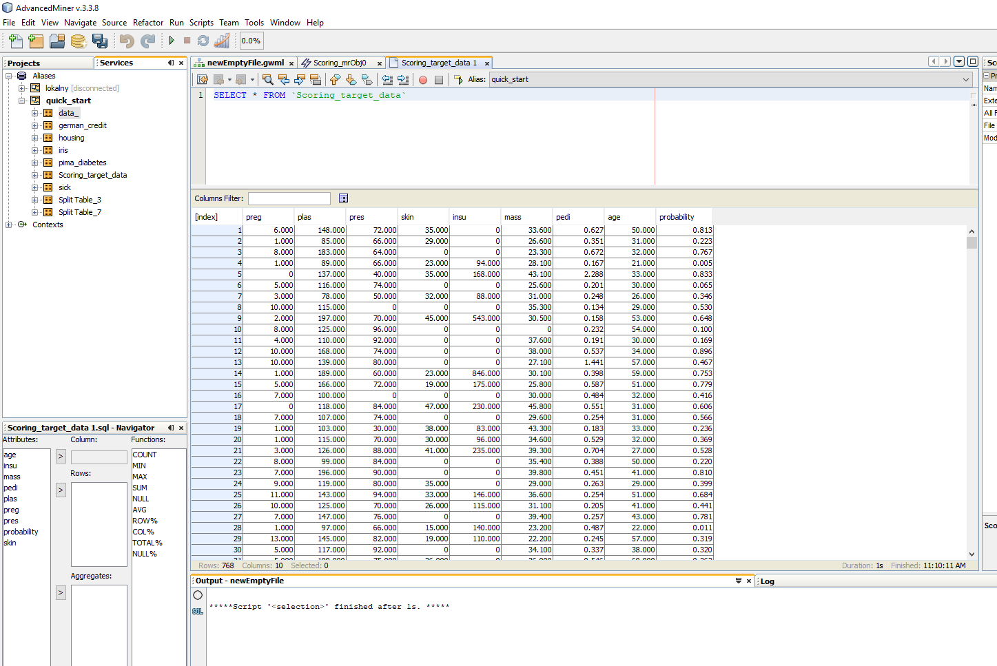 Building predictive models in AdvancedMiner - 30