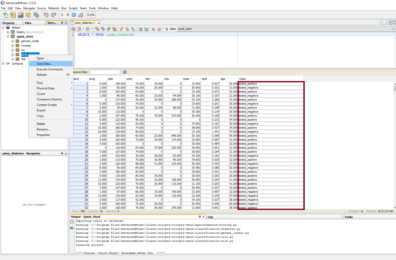 Building predictive models in AdvancedMiner - 5